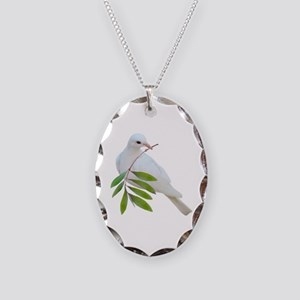 Dove Olive Branch Necklace Oval Charm